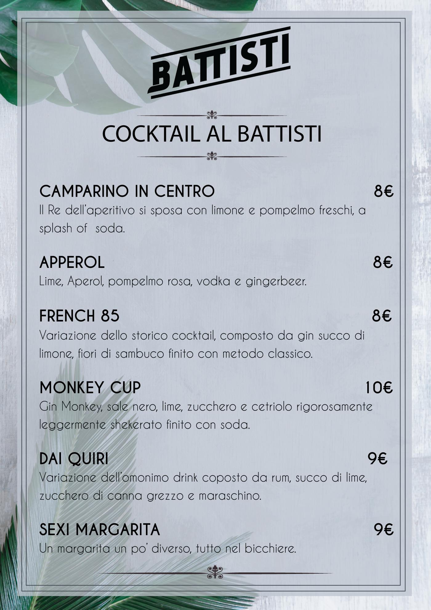 menu battisti cocktail